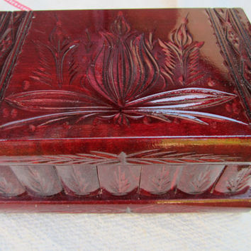 Hungarian Home Decor Keepsake & Jewelry Puzzle Box Handcarved Wooden (Cherry ...