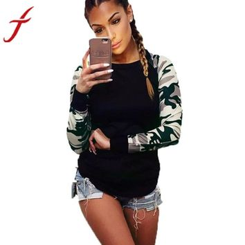 Hot Sale ! Army Green T Shirt Women Long Sleeve Shirt Casual Printing Plus Size Tops For Cool Girl