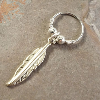 Silver Feather Cartilage Hoop Beaded Earring Boho Tragus Helix Piercing