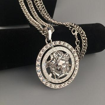 Fashion Hip Hop Versace Rotate Necklace
