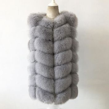 Free shipping female real fur coat 100% natural fox fur vest European popular casual fur jacket