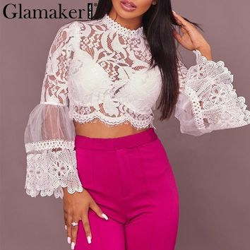 Glamaker Lace women blouse shirt Transparent mesh fringe tassel crop top tees Sexy summer trumpset sleeve white blouse clothing
