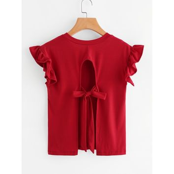Ruffle Sleeve Tie Detail Open Back Tee