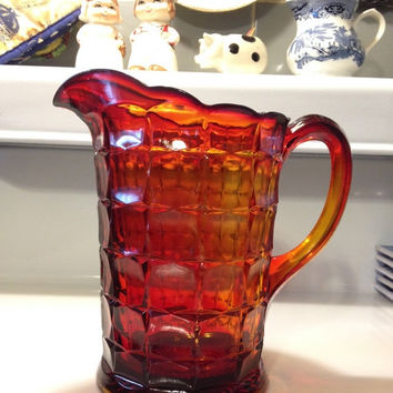 Indiana Glass Pitcher Sunset Amberina Constellation Pattern Vintage Pressed Glass Early 1970's
