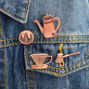 Trendy 4pcs/set Coffee appliances Filter cup Kettle Brooch Pins Buckle Denim Jacket Shirt Lapel Pin Badge Fashion Jewelry Gift for Kids AT_94_13