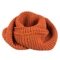 Orange Knit Funnel Scarf