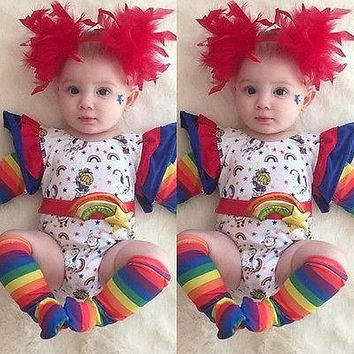 Rainbow Ruffles Romper baby clothes 2017 Toddler Infant Baby Boys Girls Romper Jumpsuits Clothes Outfits