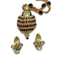 Rhinestone Necklace and Earrings Set Domed Large Pendant Sapphire Blue Peridot Green Signed Kramer NY