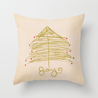 Joy pillow cover- decorative- holiday decor- gold and red- home decorating- Christmas- typography- illustration