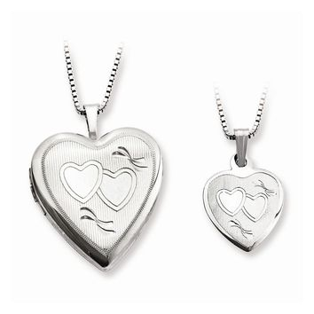 Sterling Silver Polished and Textured Heart Mom Locket & Daughter Pendant Set