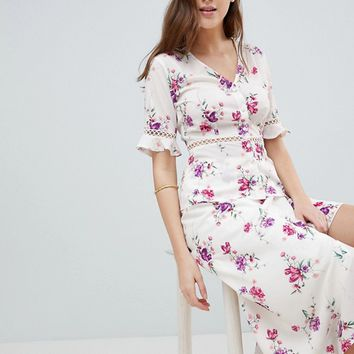 Fashion Union Tall Tea Blouse With Ladder Inserts In Vintage Floral Co-Ord at asos.com