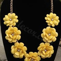Yellow Necklace Seven Flower Necklace Statement Necklace Bib Necklace Rosette Necklace