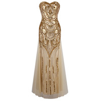 1920s Long Strapless Gold Off-Shoulder Dress Art Deco Gatsby Vintage Vestido Sequined Shining Sexy Party Gown With Recoil Belts