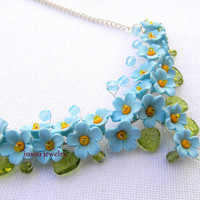 Forget me not - Light blue necklace - Floral necklace - Romantic necklace - Handmade polymer necklace