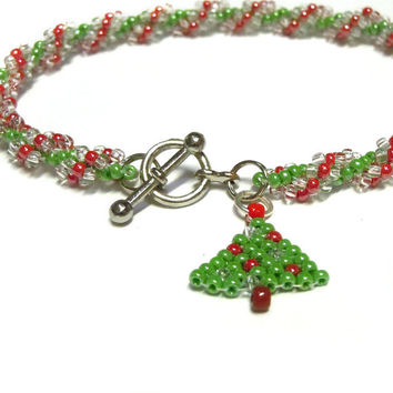 RESERVED Spiral Rope Bracelet, Christmas Tree Charm, Christmas Jewelry
