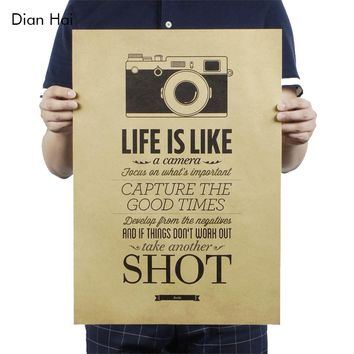 Vintage Classic Life Is Like A Camera Poster Cafe Bar Painting Home Decor Retro Kraft Paper Wall Sticker 51.5x36cm