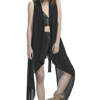 LEATHER AND SILK DRAPED VEST