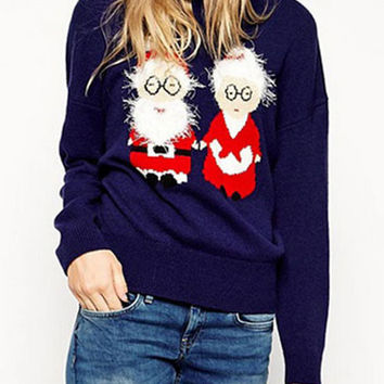 Blue Stereoscopic Santa Claus Printed Embroidery Knit Sweater