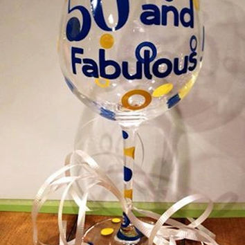Personalized Birthday Wine Glass, MIlestone Wine Glass, Custom Birthday Wine Glass, 21s Birthday, 40th Birthday, 50th Birthday