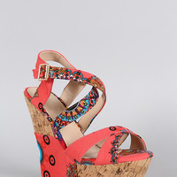 Batik Criss Cross Platform Wedge