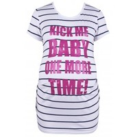 "Heavenly Bump Maternity T-shirt - Stripe, ""Kick Me Baby"" - Heavenly Bump from Heavenly Bump UK"