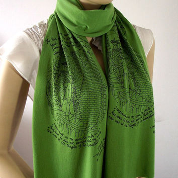 Edgar Allan Poe Scarf Quote Scarf Handprinted Scarf - Olive Green - with original illustration Raw Edge Scarf