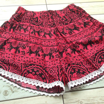 High waisted Lace Shorts Elephants Unique Boho Print Summer Beach Chic Fashion Trim Tribal Aztec Ethnic Clothing Bohemian Ikat Cloth Hobo