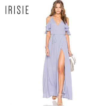 IRISIE Apparel 2017 Blue Women Dress Deep V-Neck Side Split Off-shoulder Elegant Vestidos Butterfly Sleeve Sexy Maxi Dress