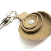 Ochre leather key fob