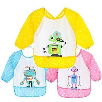 1 Pcs Baby Long Sleeve Bib Toddler Bibs Waterproof Boys Girls Apron Smock Bib Burp Cloths Child Feeding Eating Smock