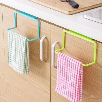 Over Door Tea Towel Rack Bar Hanging Holder Rail Organizer Bathroom Kitchen Cabinet Cupboard Hanger Shelf#boaydeal#