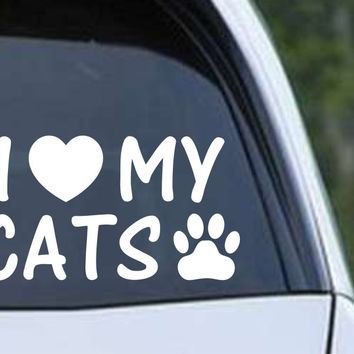 I Love My Cats Die Cut Vinyl Decal Sticker