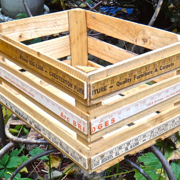 Crate, Rustic Crate, Wooden Cubby, Vintage Yardstick Crate, Storage Solution, Wedding Prop, Rulers, Primitive Crate, Repurposed Crate