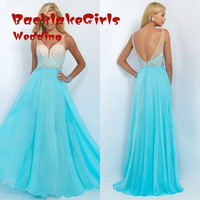Prom  Dresses Long 2017 Elegant Spaghetti Straps Beading Sky Blue Backless A Line Formal Evening Gowns  Dress