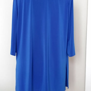 Royal Blue Long Tunic&Top    Loose Stretchy Sweater  Cowl Neck Long Sleeved Plussize Blouse   HandmadebyNadya
