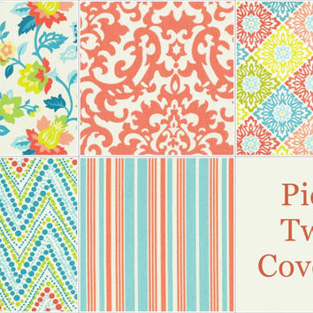 Two Coral and Teal Pillow Covers - 16 x 16 Inch Coral and Teal Throw Pillow Covers - Decorative Pillow Cushion Cover Accent Pillow