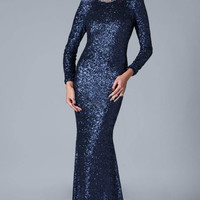 Sexy 2016 Mermaid Long Sleeves Navy Blue Sparkle Sequins Elegant Long Evening Dresses Prom Gown