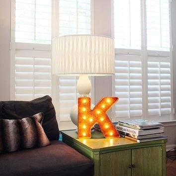 "12"" Small Letter K Lighted Vintage Marquee Letters (Rustic)"