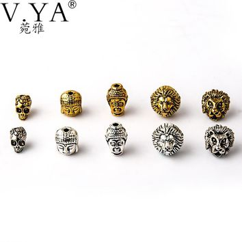 Hot sale 10 Style Beads Charms Skull&Buddha&Lion Charm for Bracelets Necklace Chain DIY Jewelry