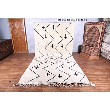 Large beni ourain rug, 7 ft x 13.7 ft, Runner moroccan rug