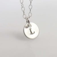 Sterling Silver Initial Necklace -Initial Necklace -- hand stamped Initial