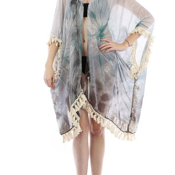 Black Floral Print Sheer Cover Up Poncho
