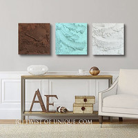 Large concrete wall art / ORIGINAL 3 panel (15-Inch x 15-inch)/ Modern Abstract mineral art / Hemimorphite / Sea-foam, Brown, White