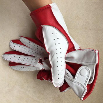 Glamour leather driving gloves for ladies/ red and white/ gift for her/ wedding gift / lambskin leather/ Mother's day gift/ Italian Nappa