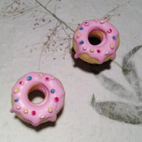 "Delicious Pink Donut Tunnels Gauged Earrings 10mm (3/8"")(00g) 12mm (1/2"") 14mm (9/16"") 16mm (5/8"") (BSD119)"