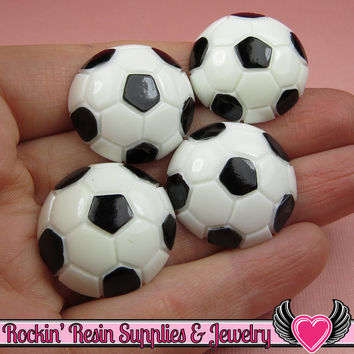 4 Pcs SOCCER BALL Sports Resin Flatback Decoden Cabochons 25mm