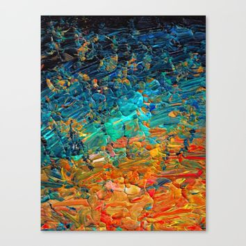 ETERNAL TIDE 2 Rainbow Ombre Ocean Waves Abstract Acrylic Painting Summer Colorful Beach Blue Orange Canvas Print by EbiEmporium
