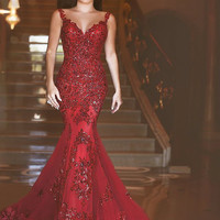 Lady Sheer Red eveningDress With Appliques Robe de Soiree Illusio less Beaded Prom Gows