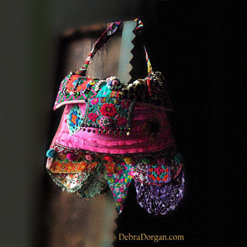 RESERVED for Jenny - The Mekong, Bag, Vintage Embroidery, Pink, Blue, Purple, Patchwork, Cross Body, Bohemian Gypsy