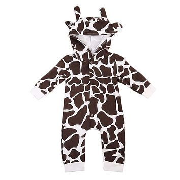 Newborn Baby Girls Boy Clothing Hooded Romper Print Long Sleeve Jumpsuit Cute Outfits Baby Boys Clothes